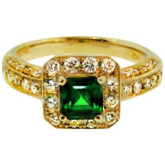 1.27 Carat Asscher Cut Tsavorite and Diamond Engagement Ring