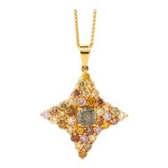 1.27 Carat Cognac and Multi-Color Diamond Pendant