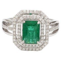 1.27 Carat Emerald Diamond 18 Karat White Gold Ring