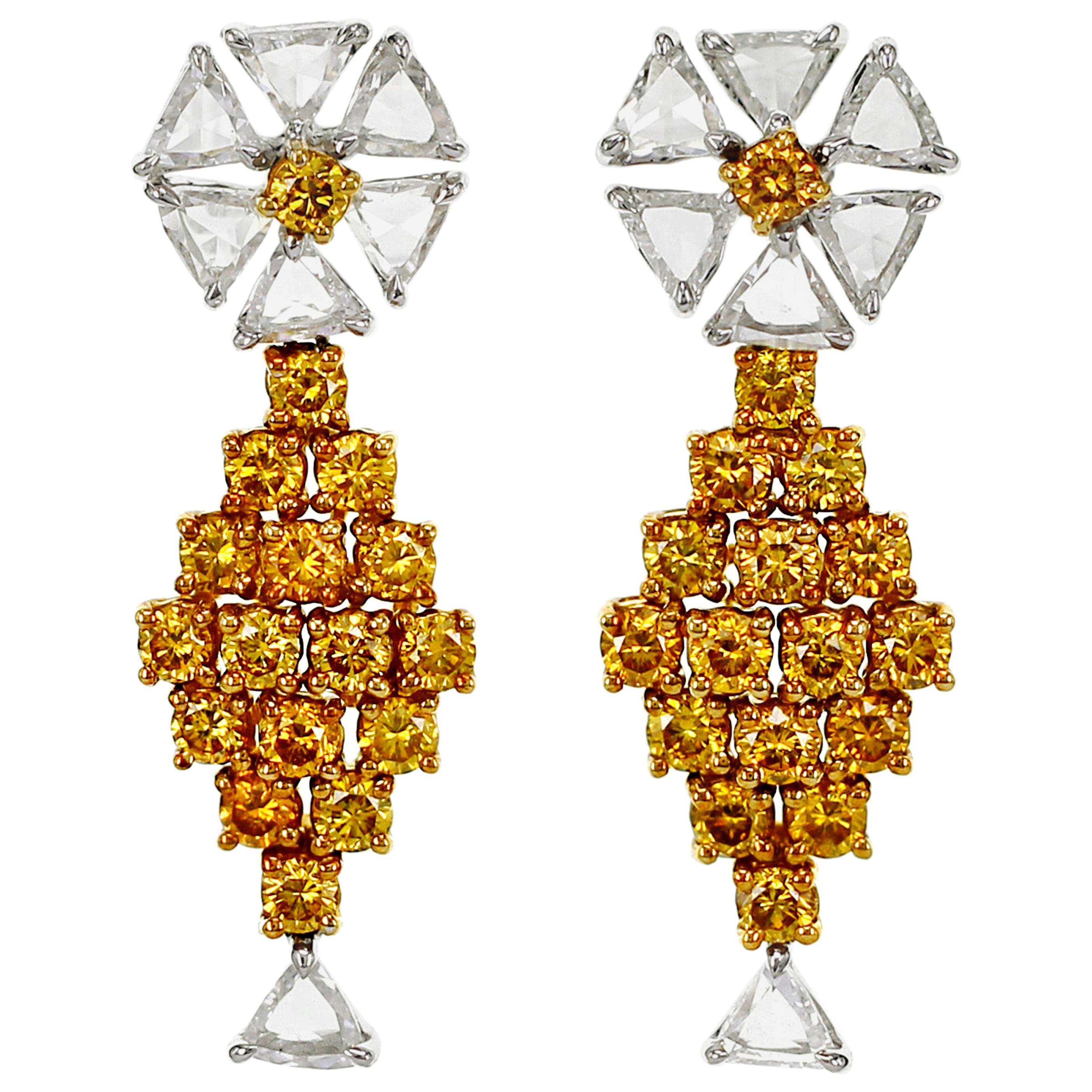 1.27 Carat Fancy Vivid Yellow Diamond Drop Earring