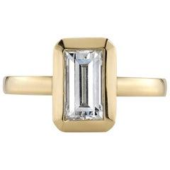 1.27 Carat GIA Certified Rectangular Step Cut Diamond in an 18 Karat Gold Ring