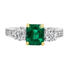 Roman Malakov, 1.27 Carat Green Emerald and Diamond Engagement Ring