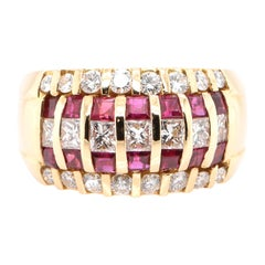 1.27 Carat, Natural Ruby and Diamond Band Ring Set in 18K Yellow Gold