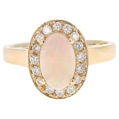 1.27 Carat Opal Diamond 14 Karat Yellow Gold Ring