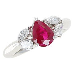 1.27 Carat Pear Shape Ruby and Diamond Three-Stone Engagement Ring, Platinum