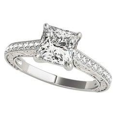 1.27 Carat Princess and Round Cut Diamond Engagement Ring GIA Certified