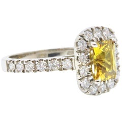 1.27 Carat Radiant Cut Yellow Sapphire Diamond 18 Carat White Gold Ring