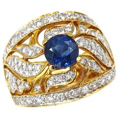 1.27 Carat Sapphire Lacework Diamond 18 Karat Gold Ring