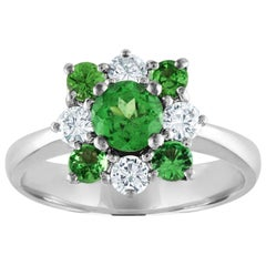 1.27 Carat Tsavorite Diamond Gold Cluster Ring