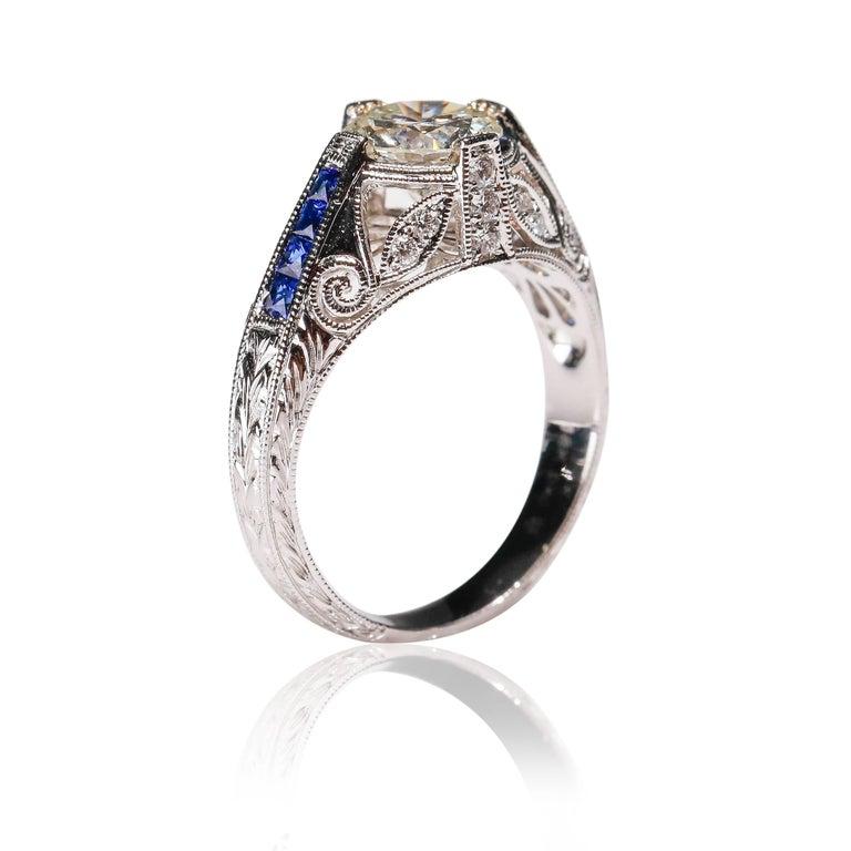 Art Deco 1.27 Carat Diamond and Sapphire Halo Ring 18 Karat White Gold Fine For Sale