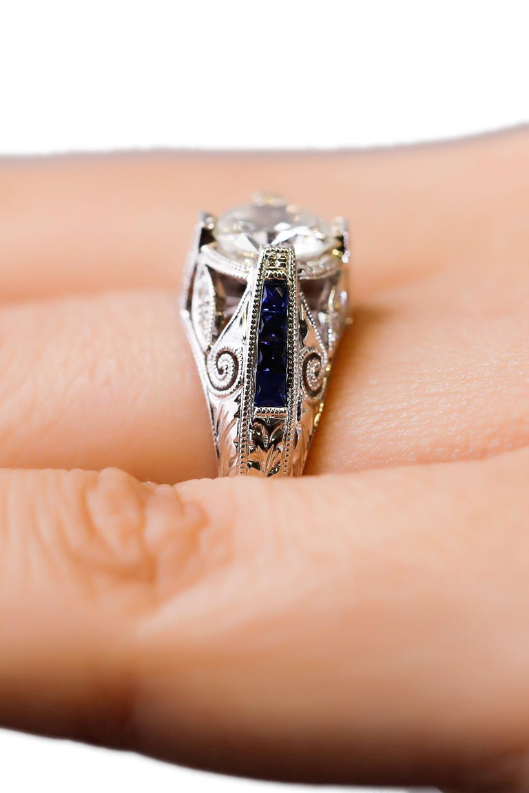 Women's 1.27 Carat Diamond and Sapphire Halo Ring 18 Karat White Gold Fine For Sale