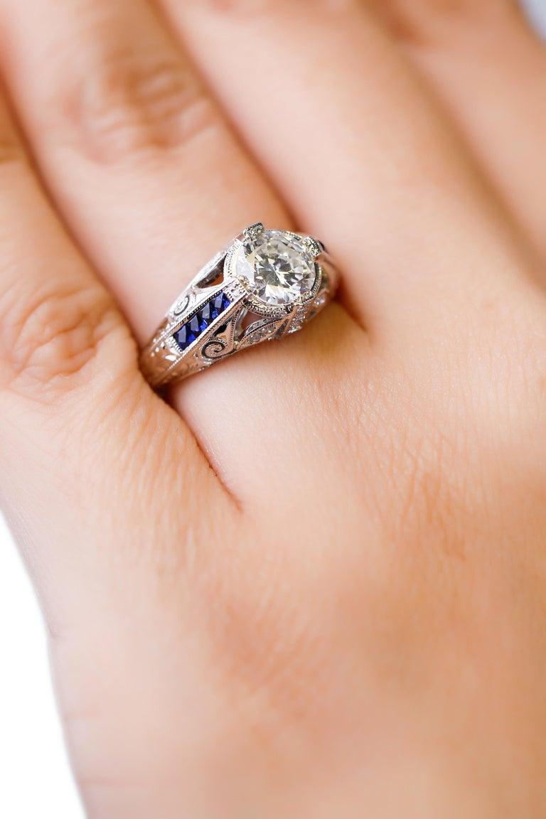 1.27 Carat Diamond and Sapphire Halo Ring 18 Karat White Gold Fine For Sale 1