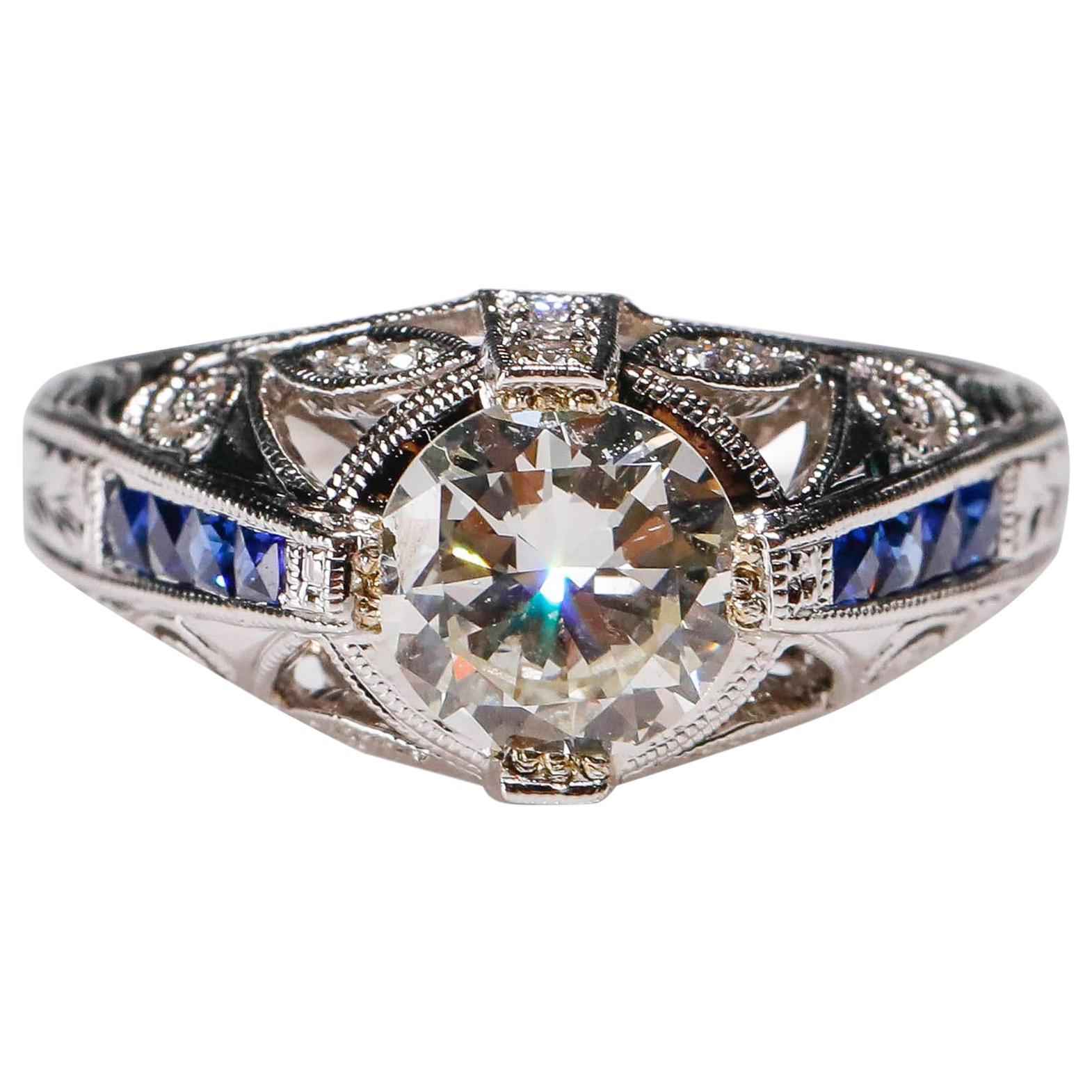 1.27 Carat Diamond and Sapphire Halo Ring 18 Karat White Gold Fine