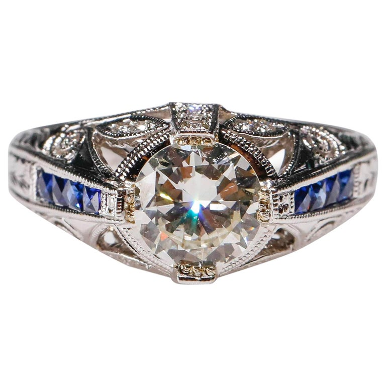 1.27 Carat Diamond and Sapphire Halo Ring 18 Karat White Gold Fine For Sale