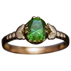 1.27 Carat Russian Demantoid Rose Gold Ring, 1930s