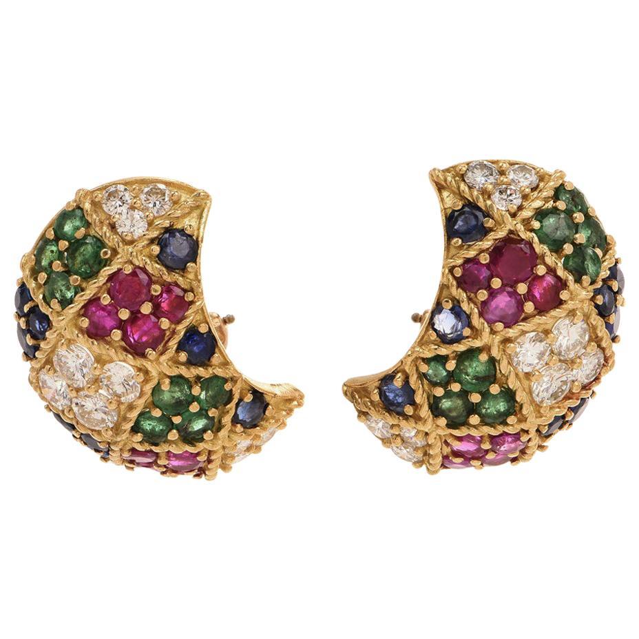 12.72 Carat Diamond Ruby Emerald 18 Karat Gold Clip-Back Earrings