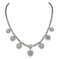 12.73 Carat Heart Shape Yellow Diamond Halo Drop Necklace