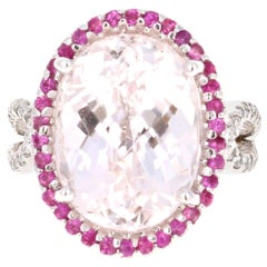 12.74 Carat Kunzite Diamond Cocktail 14 Karat White Gold Ring