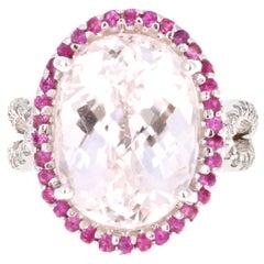 12.74 Carat Kunzite Diamond Cocktail 14 Karat White Gold Ring