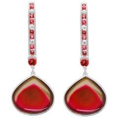 12.75 Carat Bi-Color Heart Shape Pink Tourmaline Diamond Drop Earrings 14K Gold