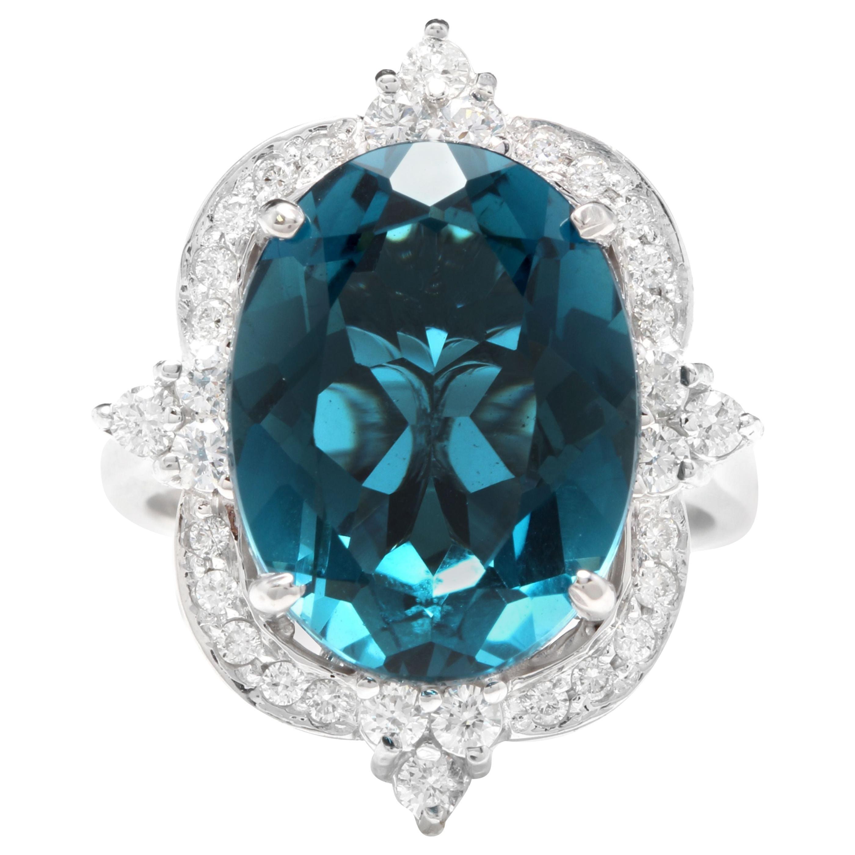 12.75 Carat Natural Impressive London Blue Topaz and Diamond 14K White Gold Ring