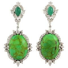 12.75 Carat Turquoise Emerald 18 Karat Diamond Earrings