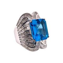 12.78 Carat Blue Topaz and Diamond Ring