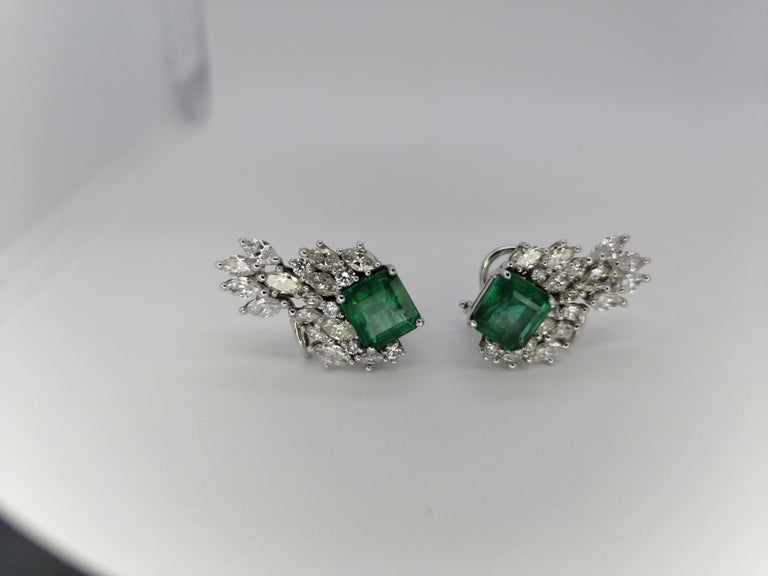 Emerald Cut 12.79 Carat Natural Emerald Marquise Diamond Earrings 18 Karat For Sale