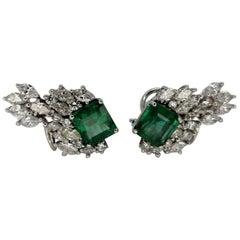 12.79 Carat Natural Emerald Marquise Diamond Earrings 18 Karat