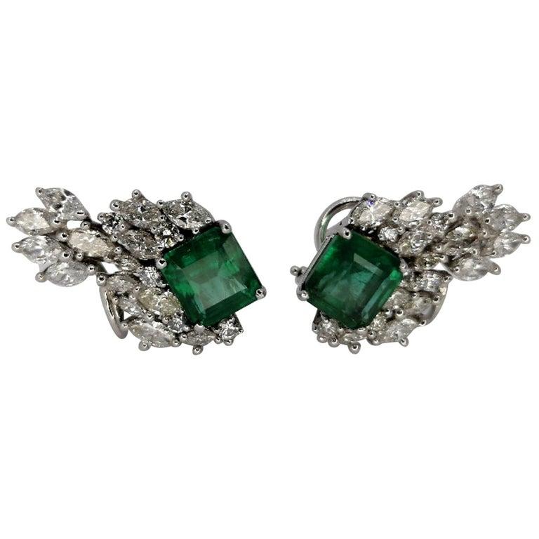 12.79 Carat Natural Emerald Marquise Diamond Earrings 18 Karat For Sale
