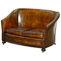 Victorian Restored Hand Dyed Brown Leather Chesterfield Club Tub Sofa