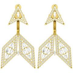 1.28 Carat Diamond 18 Karat Gold Arrow Ear Jacket Earrings