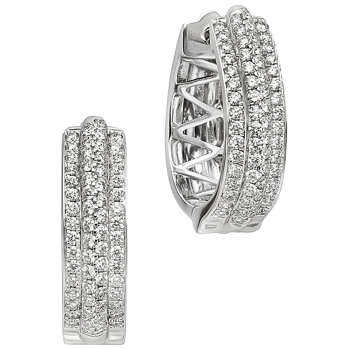 1.28 Carat Diamond and 14 Karat White Gold Hoop Earrings