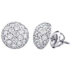 1.28 Carat Diamond Cluster Pave Earrings in 14 Karat White Gold