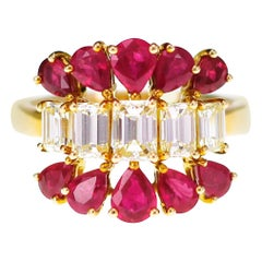 1.28 Carat Fancy Light Yellow Emerald Cut with Vivid Red Mozambique Ruby