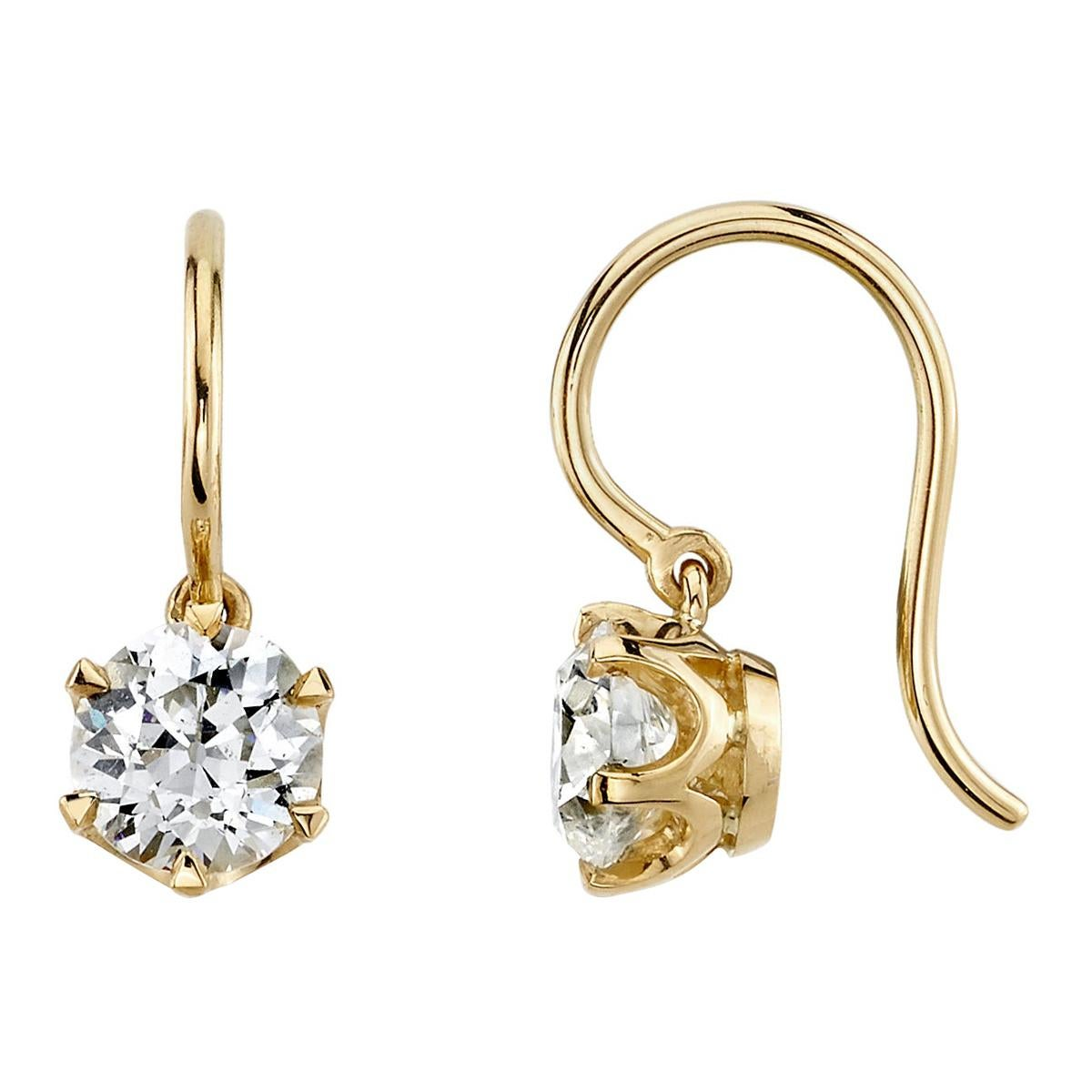 Handcrafted Gia Old European Cut Diamond Earrings by Single Stone