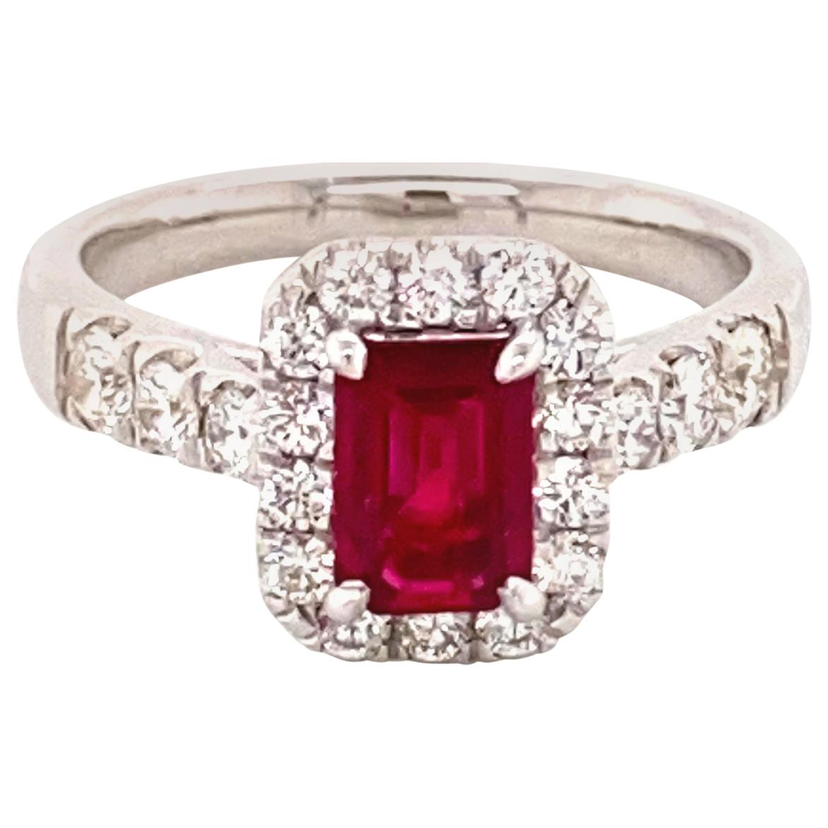 1.28 Carat GRS Certified Pigeon's Blood Burmese Ruby and Diamond Engagement Ring