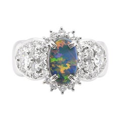 1.28 Carat, Natural, Black Opal and Diamond Estate Ring Set in Platinum