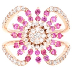 1.28 Carat Pink Sapphire Diamond 14 Karat Rose Gold Ring