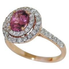 1.28 Carat Pink Spinel and Diamond Cocktail Ring, 18 Karat Gold