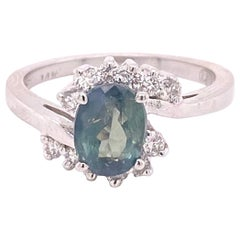 1.28 Carat Rare Alexandrite and Diamond Cocktail Ring in White Gold