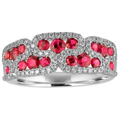 1.28 Carat Ruby and Diamond Gold Band Ring