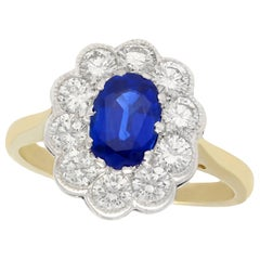 1.28 Carat Sapphire and 1.30 Carat Diamond Yellow Gold Cluster Ring