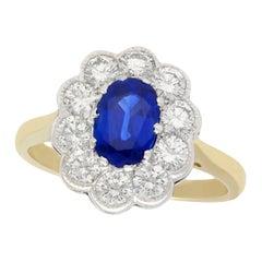 1.28 Carat Sapphire and 1.30 Carat Diamond Yellow Gold Cluster Ring