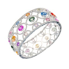 12.80 Carat GIA Certified Multi-Color Sapphire Diamond Gold Cuff Bangle Bracelet