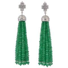 128.1 Carat Emerald Diamond 18 Karat Gold Tassel Earrings