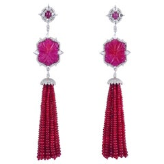 128.2 Carat Carved Ruby Diamond 18 Karat Gold Drop Tassel Earrings