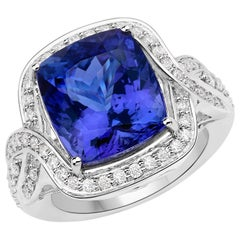 12.82 Carat Genuine Tanzanite and Diamond 18 Karat White Gold Cocktail Ring