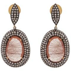 12.83 Carat Copper Rutile Quartz Rose Cut Oval Shaped Diamond Antique Earring