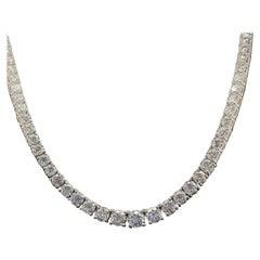 12.84 Carat Diamond Tennis Line Necklace, 18 Karat White Gold
